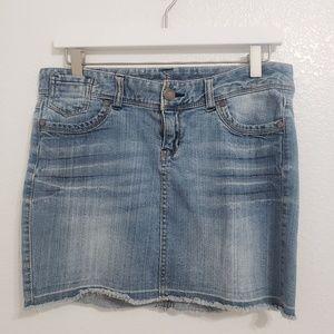 Express | Raw Hem Denim Skirt